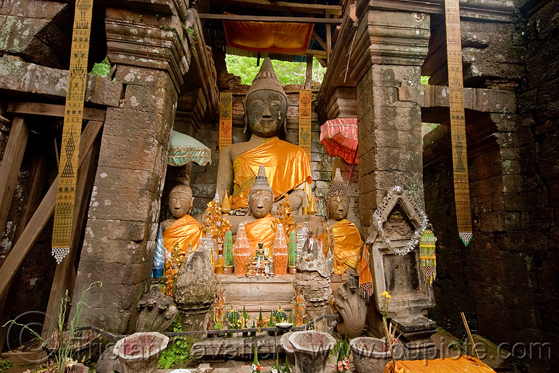 buddha statues in sanctuary - wat phu champasak (laos), buddha image, buddha statue, buddhism, cross-legged, khmer temple, laos, main shrine, wat phu champasak