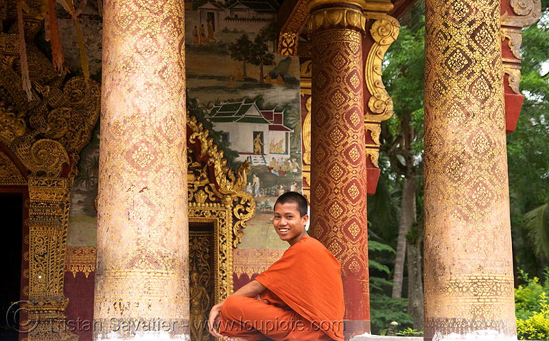 buddhist monk in temple - luang prabang (laos), bhagwa, buddhism, buddhist monks, buddhist temple, orange, people, saffron color