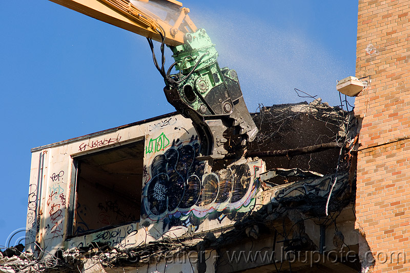 building demolition - caterpillar MP30 concrete pulverizer jaws, abandoned building, abandoned hospital, anthropomorphic, at work, attachment, building demolition, cat 385c, cat mp30, caterpillar 385c, caterpillar excavator, caterpillar mp30, concrete pulverizer, crane, ferma corporation, graffiti, heavy equipment, high reach demolition, hydraulic, long reach demolition, machinery, presidio hospital, presidio landmark apartments, pulverizer jaws, ultra high demolition, working