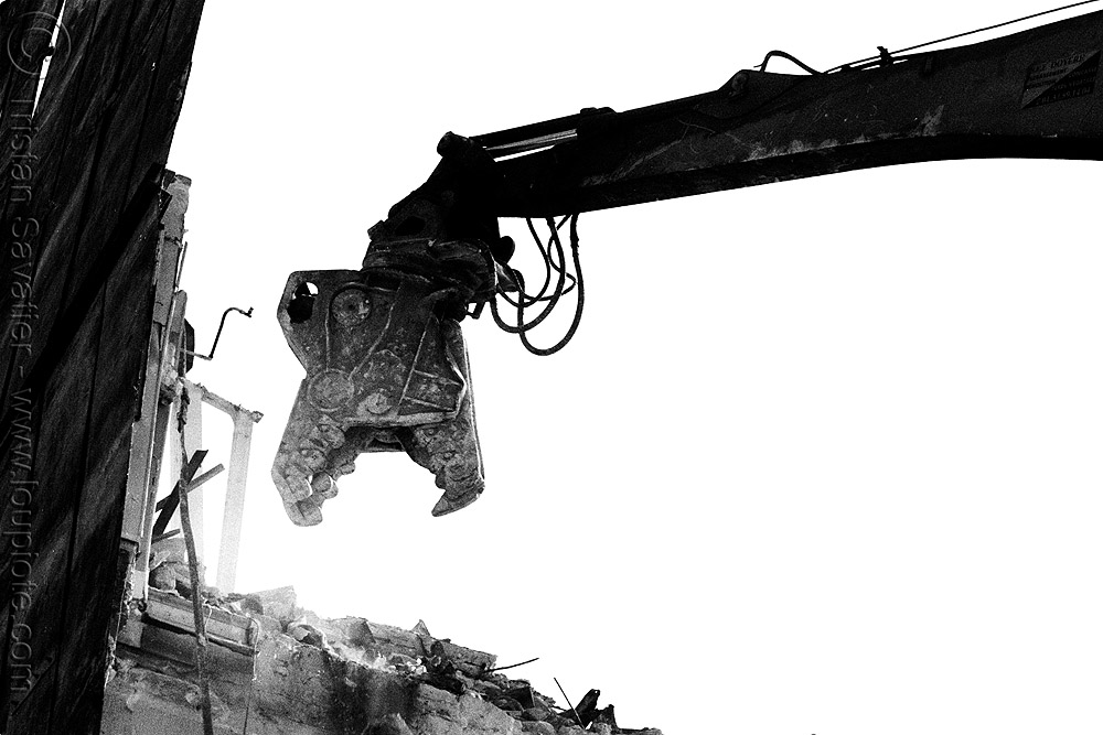building demolition - dinosaur-looking hydraulic pulverizer jaws - machinery - breaking walls, anthropomorphic, at work, attachment, breaking, building demolition, concrete pulverizer, construction zone, crane, destruction, dinosaur, eating, france, head, heavy equipment, horizontal, hydraulic, jaw crusher, machine, machinery, no people, open, part, pulverizer jaws, ruined, silhouette, style, teeth, wall, working, wrecking