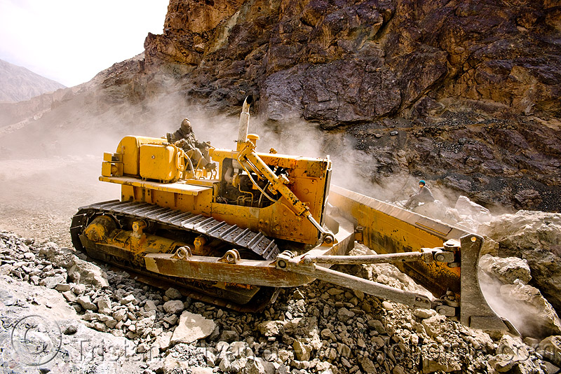 bulldozer clearing boulders - road construction - ladakh (india), at work, bd80, beml, bulldozer, dust, groundwork, india, ladakh, road construction, roadworks, rubble, working