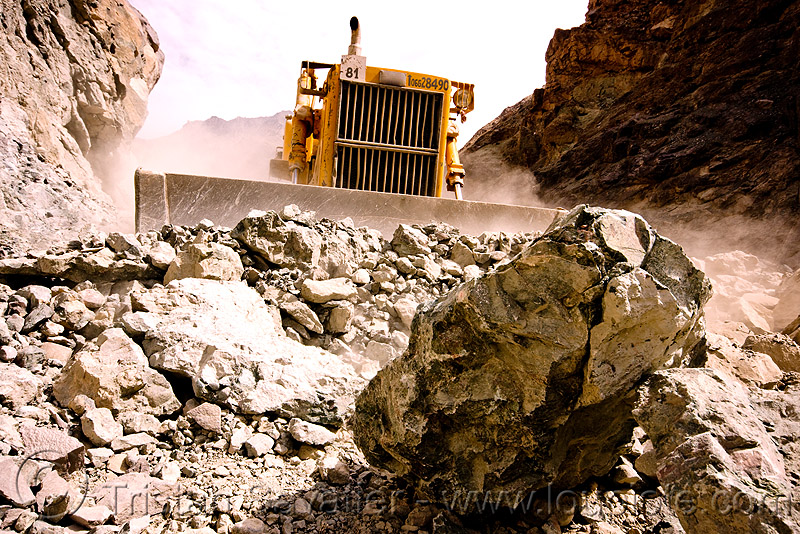 bulldozer clearing boulders - road construction - ladakh (india), at work, bd80, beml, dangerous, dozer, groundwork, heavy equipment, hydraulic, machinery, roadworks, rubble, working