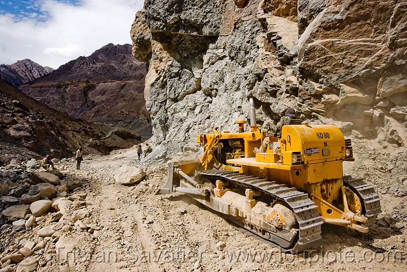 bulldozer clearing boulders - road construction - ladakh (india), at work, bd80, beml, bulldozer, groundwork, india, ladakh, road construction, roadworks, rubble, working