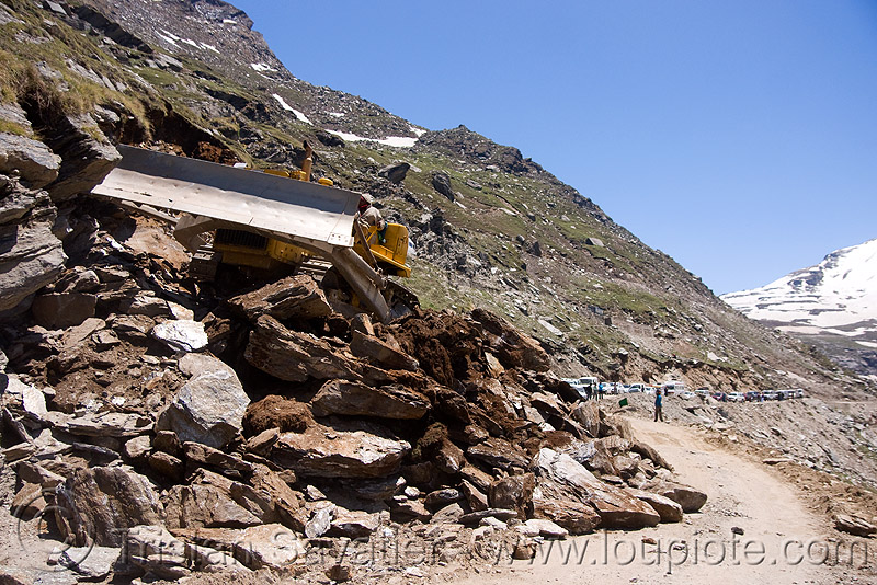 bulldozer clearing rocks on mountain road - manali to leh road (india), bd80, beml, dozer, groundwork, heavy equipment, hydraulic, machinery, road construction, roadworks, rohtang pass, rohtangla, rubble