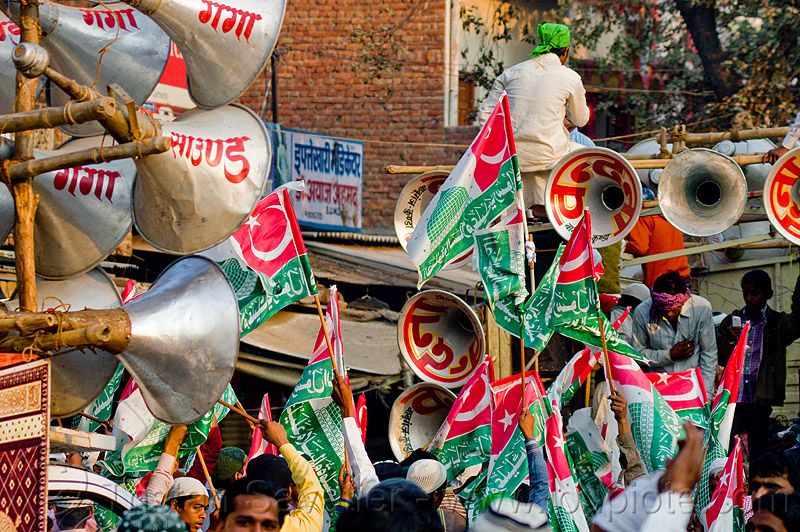 bullhorns and muslim flags - eid-milad-un-nabi muslim festival (india), bullhorns, crowd, eid-e-milad-un-nabi, eid-e-milād-un-nabī, eid-milad-un-nabi, islam, loud speakers, mawlid, men, milad un-nabi, milad-an-nabi, milād an-nabī, milād un-nabī, mohammed's birthday, muhammad's birthday, muslim festival, muslim parade, muslims, nabi day, prophet's birthday, religion, sound, street, عید میلاد النبی, ईद मिलाद नबी