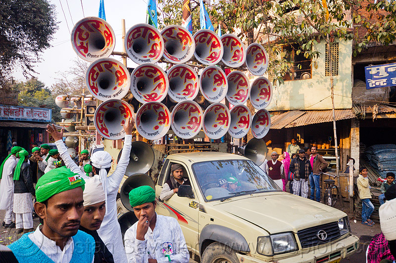 bullhorns sound system on pickup truck - eid-milad-un-nabi muslim festival (india), bullhorns, crowd, eid e milad un nabi, eid e milād un nabī, india, islam, loudspeakers, mawlid, men, muhammad's birthday, muslim festival, muslim parade, muslims, nabi day, pickup truck, prophet's birthday, speakers, عید میلاد النبی, ईद मिलाद नबी