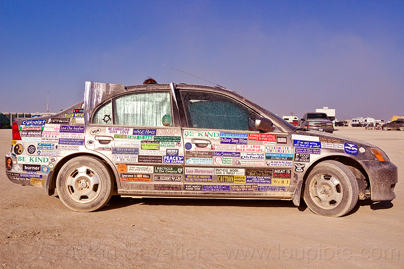 bumper stickers car, bumper stickers, burning man, car