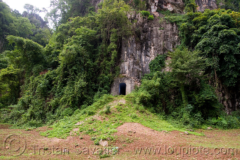bunker door (laos), cave, caving, military, natural cave, spelunking, viang xai, vietnam war