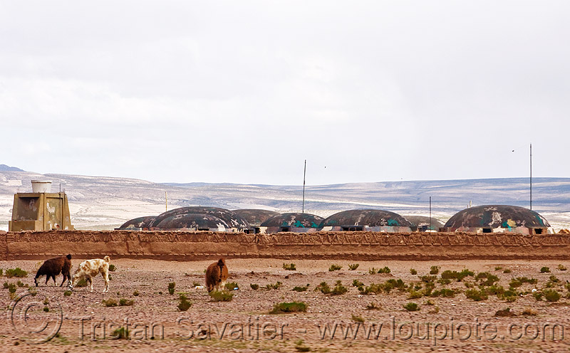 bunkers in military base (bolivia), altiplano, army, army base, camouflaged, domes, pampa