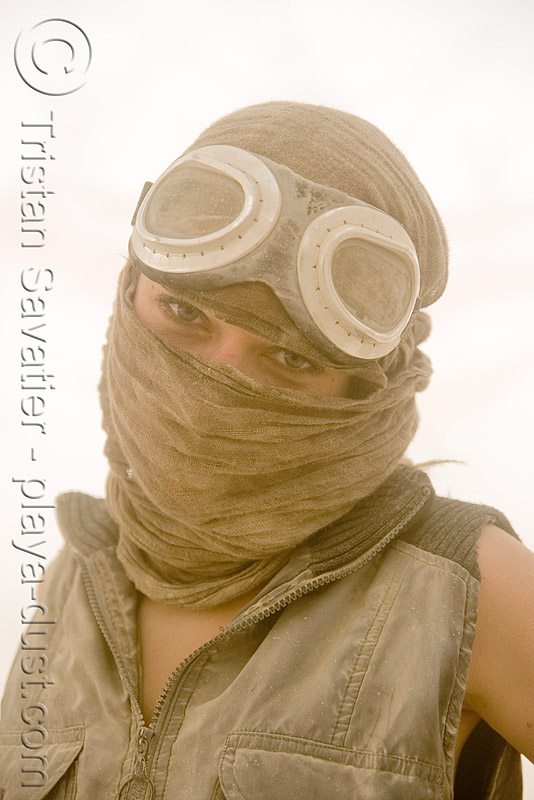 burner at center camp during dust storm - burning man 2008, burning man, center camp, dust storm, eyes, goggles, playa dust, scarf, whiteout, woman