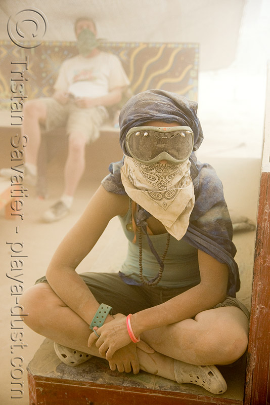 burner at center camp during dust storm - burning man 2008, goggles, people, playa dust, whiteout, woman