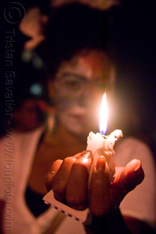 burning candle - dia de los muertos - halloween (san francisco), candle, day of the dead, dia de los muertos, face painting, facepaint, halloween, hand, makeup, night, woman