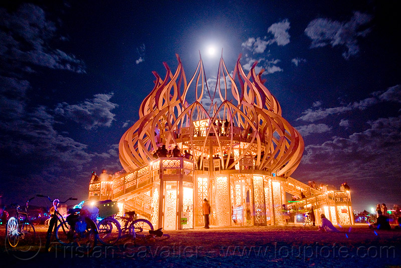 the temple under the full moon - burning man 2009, fire of fires, long exposure, night