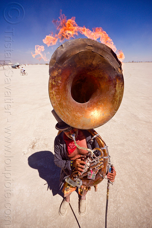 burning tuba player - burning man 2012, burning band, burning man, david, fire, flames, marching band, music, musician, sousaphone, tuba player