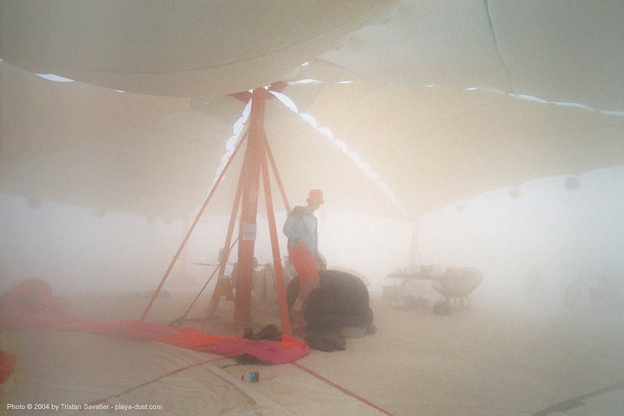 burningsky skydiver camp during a dust storm - burning-man 2003, burning man, burning sky, dust storm, parachutists camp, playa dust, skydiving, whiteout