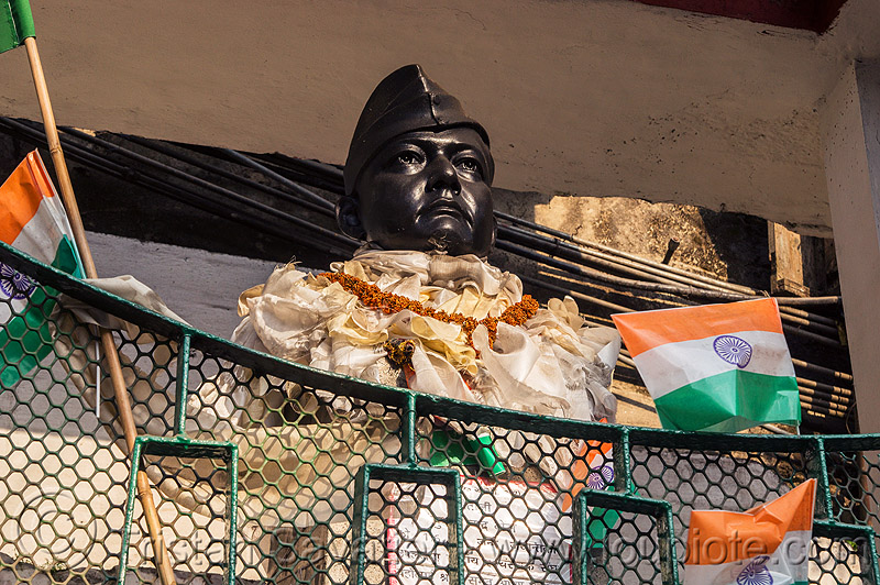 bust monument of a famous indian leader - darjeeling (india), darjeeling, flags, man, monument, sculpture, statue