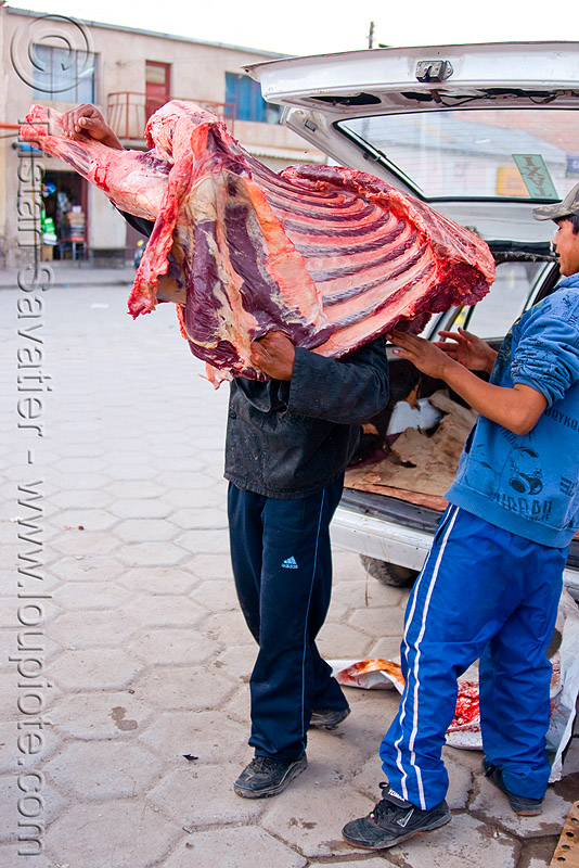 butcher carrying a quarter of beef - uyuni (bolivia), delivery, man, market, meat, meat market, meat shop, people