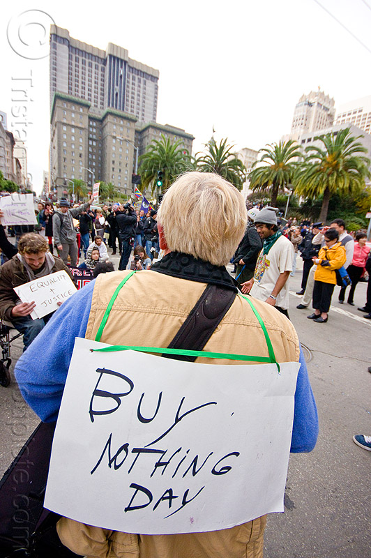 buy nothing day, black friday, demonstration, demonstrators, occupy, ows, protest, protesters, sign, street, union square