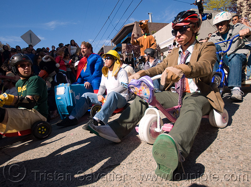 "BYOBW - ""bring your own big wheel"" race - toy tricycles (san francisco), bicycle helmet, big wheel, drift trikes, potrero hill, race, toy tricycle, toy trike, trike-drifting"