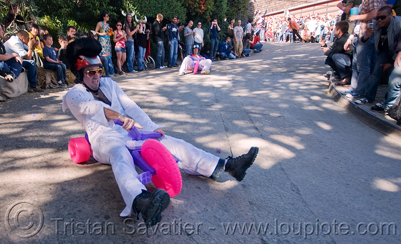 "BYOBW - ""bring your own big wheel"" race - toy tricycles (san francisco), big wheel, drift trikes, elvis impersonator, moving fast, potrero hill, race, speed, speeding, toy tricycle, toy trike, trike-drifting"