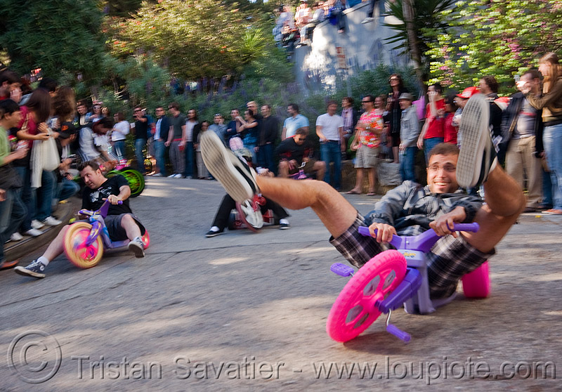"BYOBW - ""bring your own big wheel"" race - toy tricycles (san francisco), drift trikes, moving fast, speeding, toy tricycle, toy trike, trike-drifting"