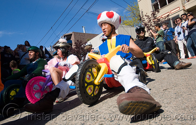 "BYOBW - ""bring your own big wheel"" race - toy tricycles (san francisco), drift trikes, people, potrero hill, toy tricycle, toy trike, trike-drifting"