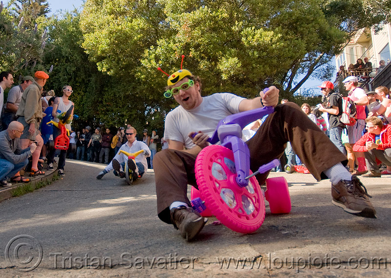 "BYOBW - ""bring your own big wheel"" race - toy tricycles (san francisco), big wheel, drift trikes, moving fast, potrero hill, race, safety helmet, speed, speeding, toy tricycle, toy trike, trike-drifting"