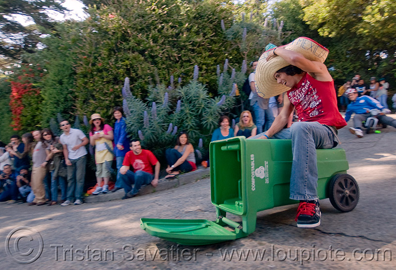 "BYOBW - ""bring your own big wheel"" race - toy tricycles (san francisco), big wheel, drift trikes, garbage bin, green, moving fast, potrero hill, race, recycling, speed, speeding, straw hat, toy tricycle, toy trike, trash bin, trike-drifting"