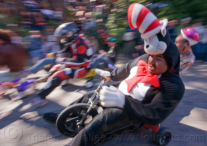 "BYOBW - ""bring your own big wheel"" race - toy tricycles (san francisco), big wheel, byobw 2011, dr seuss costume, drift trikes, moving fast, potrero hill, race, speed, speeding, toy tricycle, toy trike, trike-drifting"
