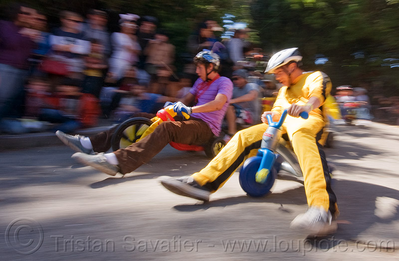 "BYOBW - ""bring your own big wheel"" race - toy tricycles (san francisco), big wheel, byobw 2011, drift trikes, michael chien, moving fast, potrero hill, race, speed, speeding, toy tricycle, toy trike, trike-drifting"