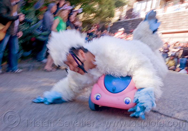 "BYOBW - ""bring your own big wheel"" race - toy tricycles (san francisco), big wheel, byobw 2011, drift trikes, fuzzy costume, moving fast, potrero hill, race, speed, speeding, toy car, toy tricycle, toy trike, trike-drifting, white"