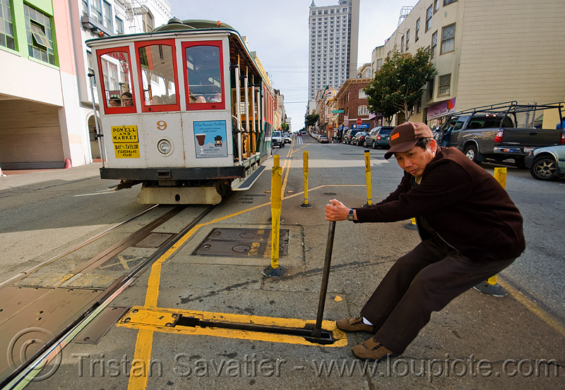 cable car switch - powell street (san francisco), man, muni worker, people, powell st, railroad, railroad switch, railroad tracks, rails, railway, railway tracks, the point