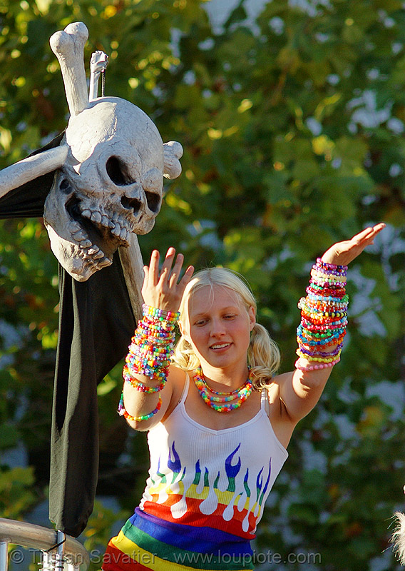 candy kid - san francisco lovefest 2007, beads, blonde, crossbones, dancing, festival, jules, juliana, kandi kid, kandi raver, love fest, lovevolution, plur, raver outfits, skull and bones, woman