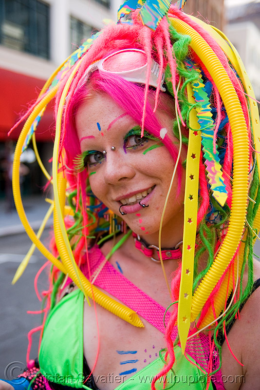 candy kid with neon hair, bridge piercing, clothing, dreadfalls, fashion, fushia, how weird festival, kandi kid, kandi raver, lip piercing, neon color, nose piercing, pink hair, plur, raver outfits, snake bites piercing, tasha, woman