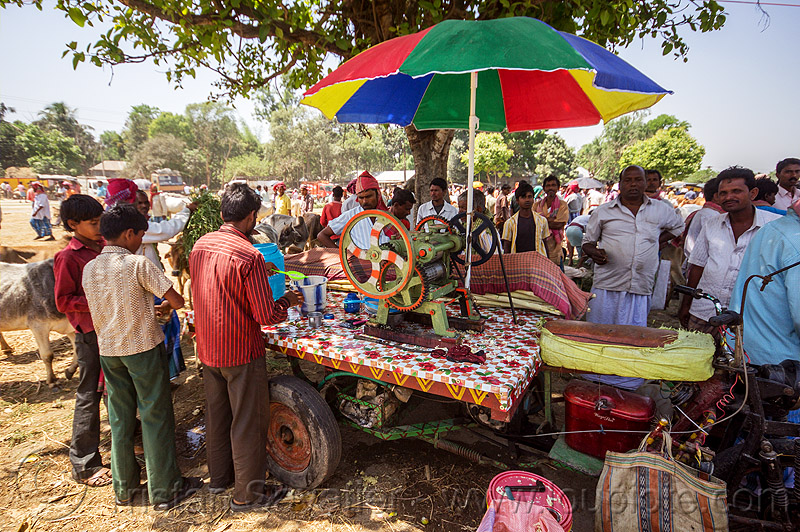 cane juice machine (india), cane juice, crowd, india, men, press, rainbow colors, stand, street food, street seller, street vendor, sugar cane, trike, umbrella, west bengal