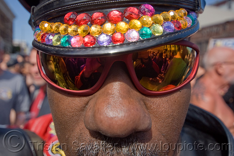 cap with colorful bindis - dore alley fair, african american man, black man, leather cap, people, rainbow colors, sunglasses