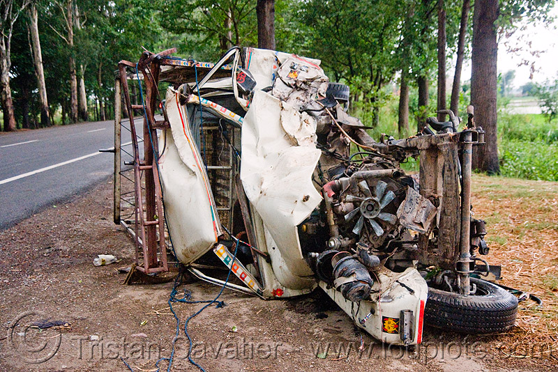car accident - mahindra jeep (india), collision, crash, frontal collision, overturned, overturned car, road, road crash, traffic accident, traffic crash, wreck