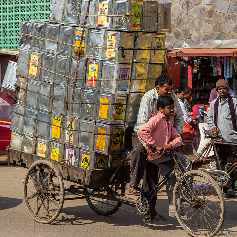 cargo tricycle loaded with metal oil boxes (india), boy, cargo tricycle, delhi, freight tricycle, men, metal boxes, oil, street, trike