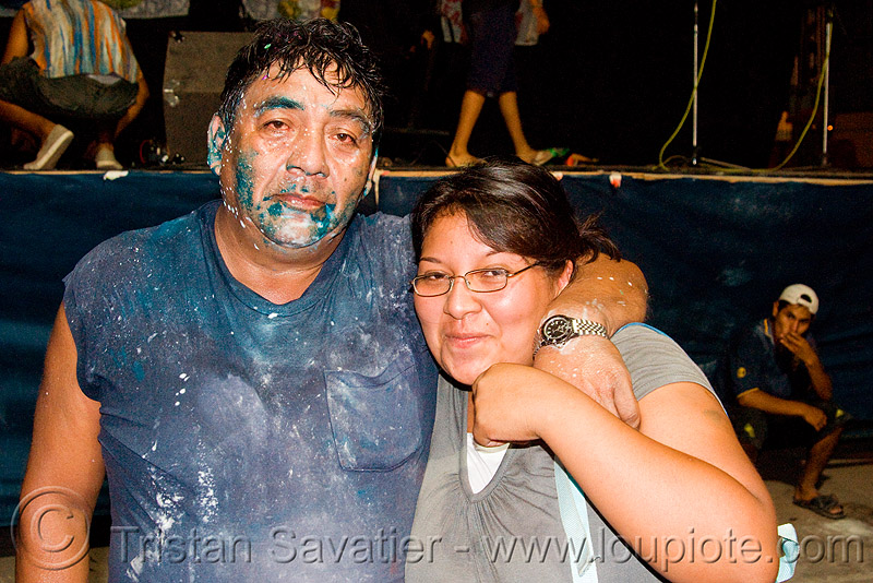 carnaval - carnival in jujuy capital (argentina), andean carnival, couple, face painting, facepaint, man, noroeste argentino, paint, people, san salvador de jujuy, talk, talk powder, woman
