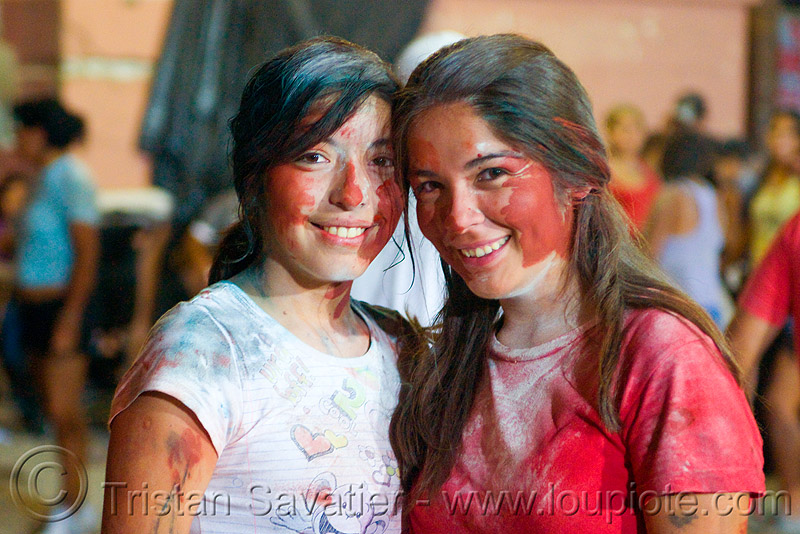 carnaval - carnival in jujuy capital (argentina), andean carnival, face painting, facepaint, friends, girls, noroeste argentino, paint, people, red paint, san salvador de jujuy, two, women