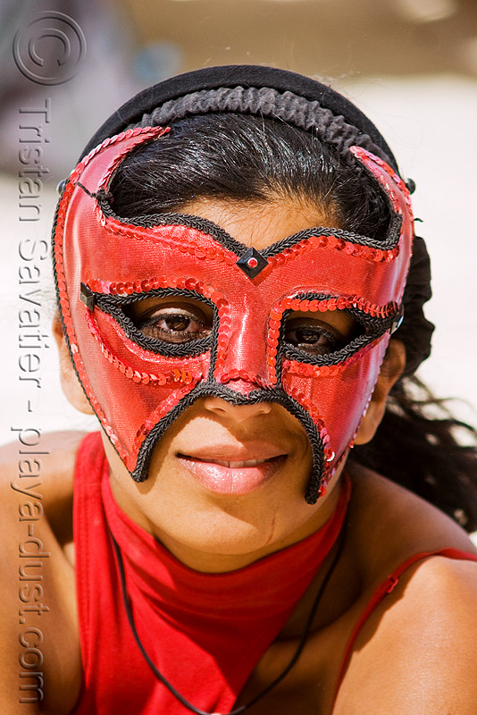 carnival mask - red & black, burning man, center camp, leather mask, masked, people, woman