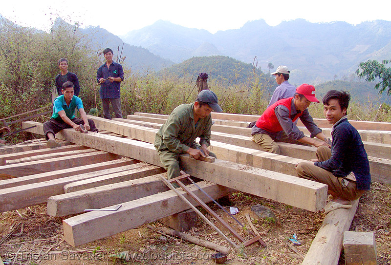 carpenters building a house - vietnam, beams, carpentry, construction, construction workers, home builders, men, people, tools, wood, wood beams, working