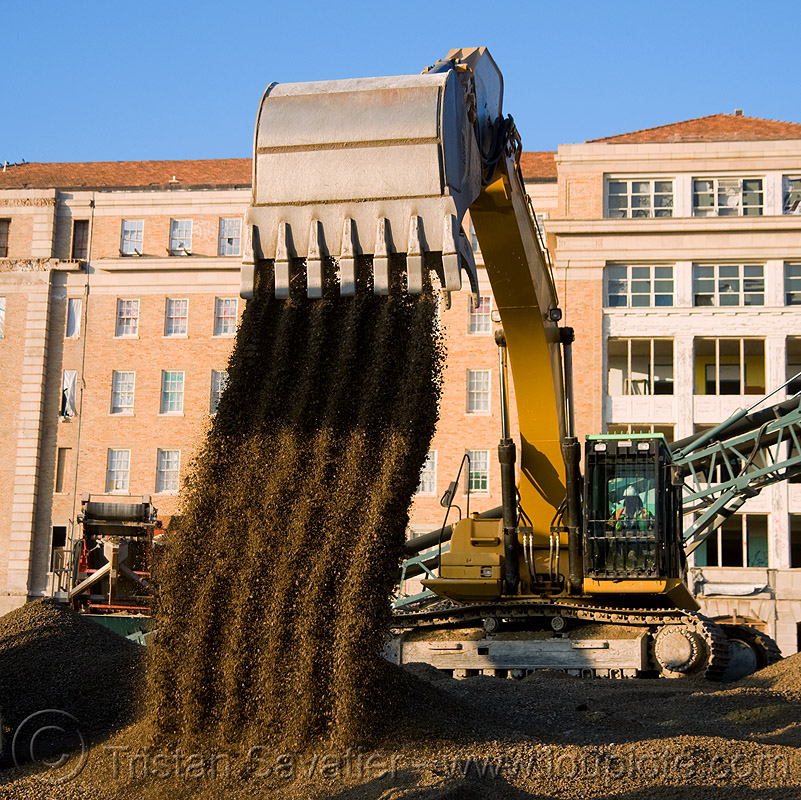 caterpillar 330D excavator, abandoned building, abandoned hospital, at work, bucket attachment, building demolition, cat 330d, caterpillar 330d, caterpillar excavator, excavator bucket, gravel, heavy equipment, hydraulic, machinery, presidio hospital, presidio landmark apartments, working