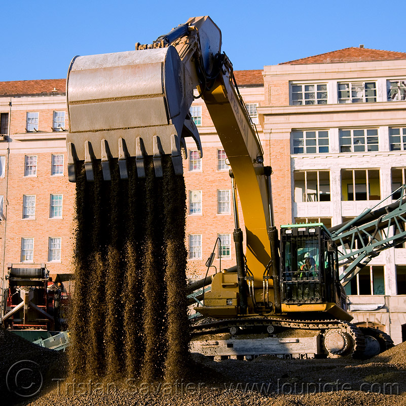 caterpillar 330D excavator - moving gravel, abandoned building, abandoned hospital, at work, bucket attachment, building demolition, cat 330d, caterpillar 330d, caterpillar excavator, excavator bucket, gravel, presidio hospital, presidio landmark apartments, working