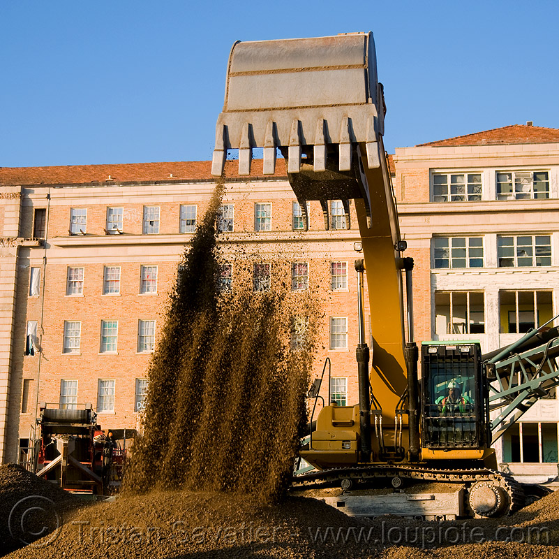 caterpillar 330D excavator - moving gravel, abandoned building, abandoned hospital, at work, attachment, building demolition, cat 330d, caterpillar 330d, caterpillar excavator, gravel, presidio hospital, presidio landmark apartments, working