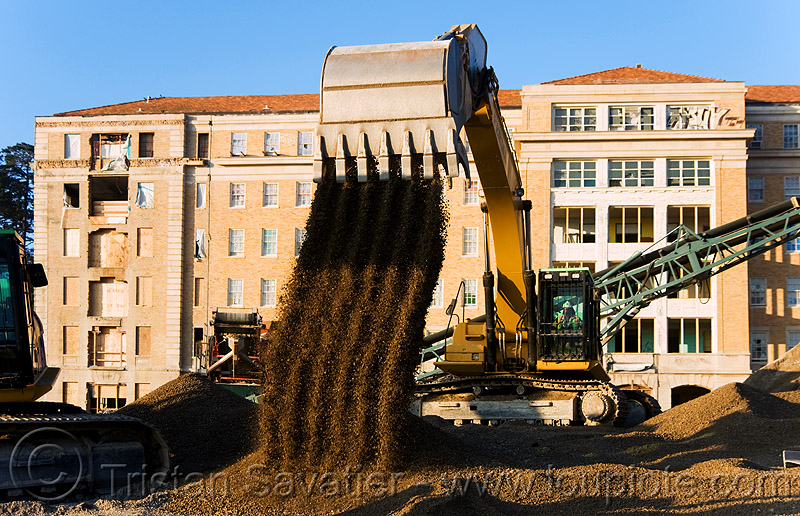 caterpillar 330D excavator - moving gravel, abandoned building, abandoned hospital, at work, attachment, bucket attachment, building demolition, cat 330d, caterpillar excavator, excavator bucket, heavy equipment, hydraulic, machinery, presidio hospital, presidio landmark apartments, working