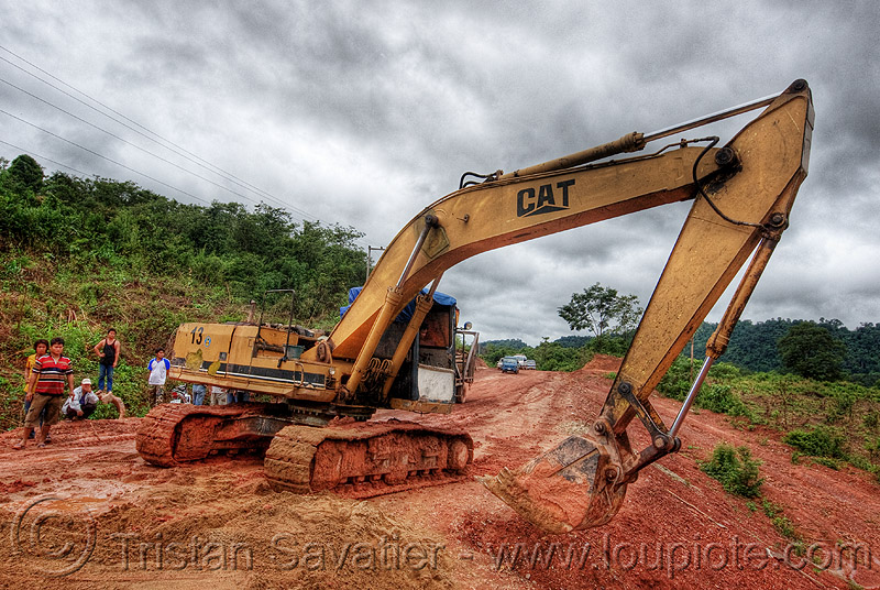caterpillar CAT E200B excavator - road construction (laos), at work, caterpillar e200b, dirt road, heavy equipment, hydraulic, machinery, mud, unpaved, working