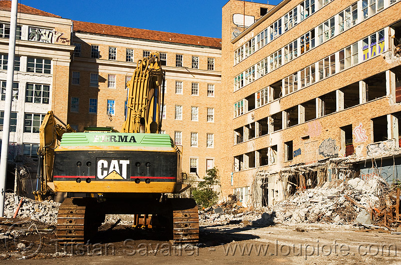 caterpillar excavator - building demolition, abandoned building, abandoned hospital, building demolition, caterpillar excavator, presidio hospital, presidio landmark apartments