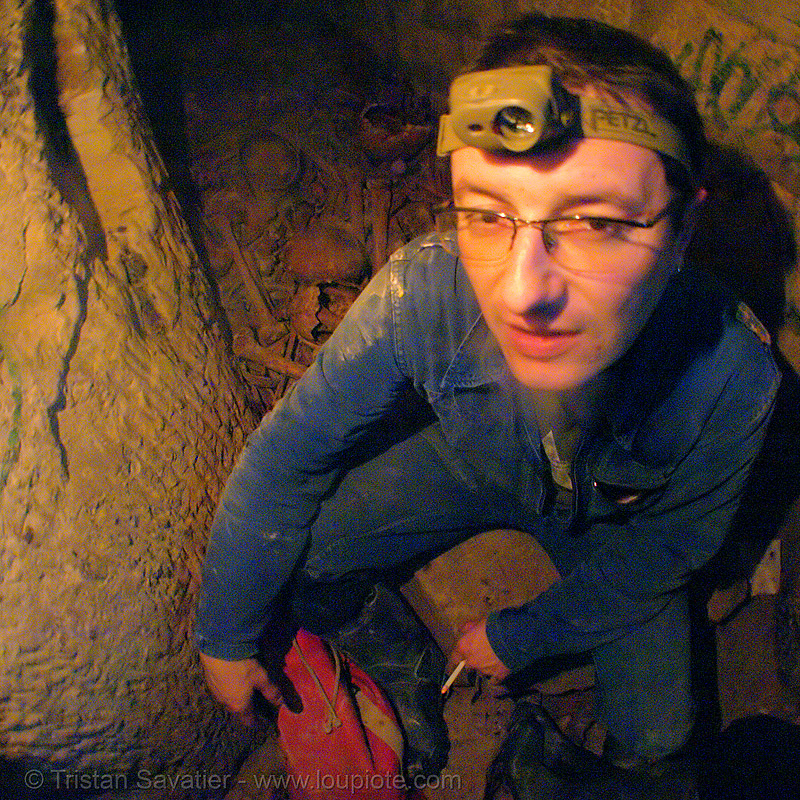 caver - catacombes de paris - catacombs of paris (off-limit area) - BHV in one of the ossuaries, bhv, catacombs of paris, cave, ossuary, skeletal remains, skeleton, trespassing, tunnel, underground quarry