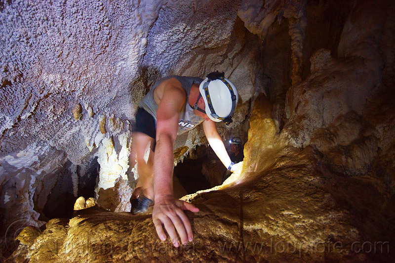 caving in mulu - clearwater cave (borneo), cavers, clearwater connection, natural cave, spelunkers, spelunking, squeeze